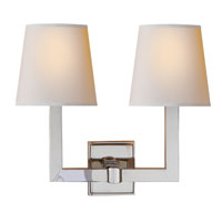E. F. Chapman Square Tube 2 Light 15 inch Polished Nickel Decorative Wall Light in Natural Paper