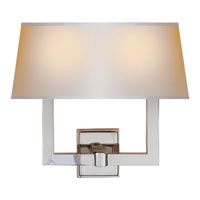Visual Comfort SL2820PN-NP2 E. F. Chapman Square Tube 2 Light 16 inch Polished Nickel Decorative Wall Light in Long Natural Paper