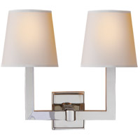 Visual Comfort SL2820PN-NP E. F. Chapman Square Tube 2 Light 15 inch Polished Nickel Decorative Wall Light in Natural Paper