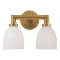 Visual Comfort E.F. Chapman Wilton 2 Light Bath Wall Light in Hand-Rubbed Antique Brass SL2842HAB-WG