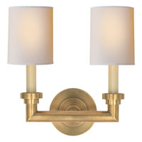 Visual Comfort E.F. Chapman Wilton 2 Light Decorative Wall Light in Hand-Rubbed Antique Brass SL2846HAB-NP