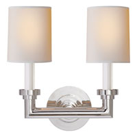 Visual Comfort E.F. Chapman Wilton 2 Light Decorative Wall Light in Polished Nickel SL2846PN-NP
