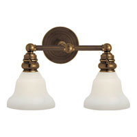Visual Comfort E.F. Chapman Boston 2 Light Bath Wall Light in Hand-Rubbed Antique Brass SL2932HAB/SLEG-WG