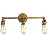 Visual Comfort E.F. Chapman Boston 3 Light Bath Wall Light in Hand-Rubbed Antique Brass SL2933HAB