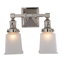 Visual Comfort Studio Sandy Chapman Boston Square Double Sconce in Chrome with Frosted Glass SL2942CH-FG - Open Box