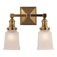 Visual Comfort E.F. Chapman Boston 2 Light Bath Wall Light in Hand-Rubbed Antique Brass SL2942HAB-FG