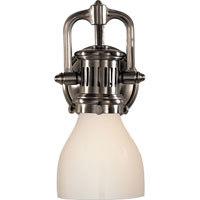 Visual Comfort Studio Yoke 1 Light Suspended Wall Sconce in Antique Nickel with White Glass Shade SL2975AN-WG