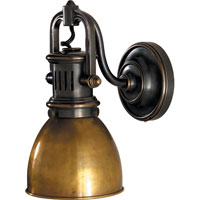 Visual Comfort Studio Yoke 1 Light Suspended Wall Sconce in Bronze with Wax with Hand-Rubbed Antique Brass Shade SL2975BZ-HAB