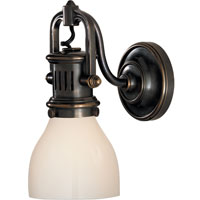 Visual Comfort Studio Yoke 1 Light Suspended Wall Sconce in Bronze with White Glass Shade SL2975BZ-WG