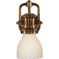 Studio Yoke 1 Light 5 inch Hand-Rubbed Antique Brass Suspended Wall Sconce Wall Light in White Glass
