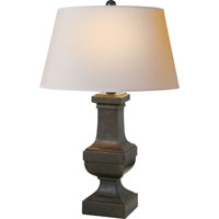 E.F. Chapman Balustrade 27 inch 100 watt Aged Iron with Wax Decorative Table Lamp Portable Light in Natural Paper