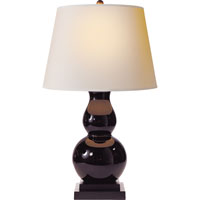 Visual Comfort Studio Gourd Sandy Chapman Gourd Table Lamp in Eggplant Glass with Natural Paper Shade SL3801EG-NP