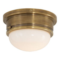 Visual Comfort E.F. Chapman Marine 1 Light Flush Mount in Hand-Rubbed Antique Brass SL4001HAB-WG