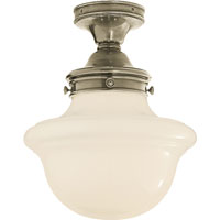 E.F. Chapman School House 1 Light 15 inch Antique Nickel Flush Mount Ceiling Light