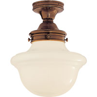 Visual Comfort E.F. Chapman School House 1 Light Flush Mount in Hand-Rubbed Antique Brass SL4121HAB-WG