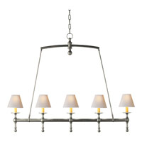 Visual Comfort E.F. Chapman Classic 5 Light Linear Pendant in Antique Nickel SL5811AN-NP