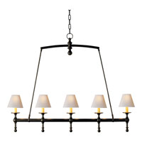 Visual Comfort E.F. Chapman Classic 5 Light Linear Pendant in Bronze with Wax SL5811BZ-NP