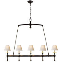 Visual Comfort SL5811BZ-NP E. F. Chapman Classic 5 Light 45 inch Bronze Linear Pendant Ceiling Light