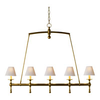 Visual Comfort E.F. Chapman Classic 5 Light Linear Pendant in Hand-Rubbed Antique Brass SL5811HAB-NP