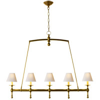 Visual Comfort SL5811HAB-NP E. F. Chapman Classic 5 Light 45 inch Hand-Rubbed Antique Brass Linear Pendant Ceiling Light