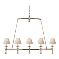 Visual Comfort E.F. Chapman Classic 5 Light Linear Pendant in Polished Nickel SL5811PN-NP