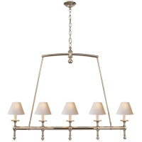 E. F. Chapman Classic 5 Light 45 inch Polished Nickel Linear Pendant Ceiling Light