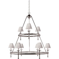Visual Comfort E.F. Chapman Classic 9 Light Chandelier in Antique Nickel SL5813AN-NP
