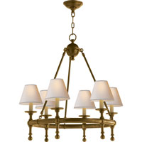 Visual Comfort E.F. Chapman Classic 6 Light Chandelier in Hand-Rubbed Antique Brass SL5814HAB-NP
