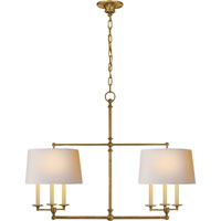 Visual Comfort E.F. Chapman Classic 6 Light Linear Pendant in Hand-Rubbed Antique Brass SL5816HAB-NP