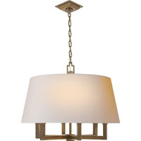 Visual Comfort E.F. Chapman Square Tube 6 Light Hanging Shade in Hand-Rubbed Antique Brass SL5820HAB-NP