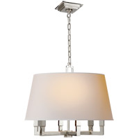 E. F. Chapman Square Tube 6 Light 24 inch Polished Nickel Hanging Shade Ceiling Light