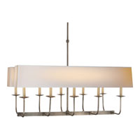 E.F. Chapman Branched 10 Light 36 inch Antique Nickel Linear Pendant Ceiling Light in Long Natural Paper