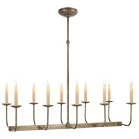 E. F. Chapman Linear Branched 10 Light 35 inch Antique Nickel Linear Pendant Ceiling Light