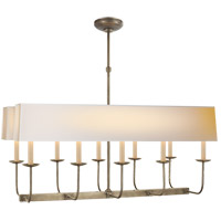 E. F. Chapman Linear Branched 10 Light 36 inch Antique Nickel Linear Pendant Ceiling Light in Long Natural Paper