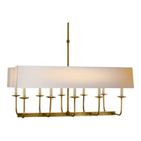 Visual Comfort E.F. Chapman Branched 10 Light Linear Pendant in Hand-Rubbed Antique Brass with Long Natural Paper Shade SL5863HAB-NP2