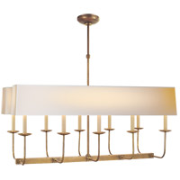 Visual Comfort SL5863HAB-NP2 E. F. Chapman Linear Branched 10 Light 36 inch Hand-Rubbed Antique Brass Linear Pendant Ceiling Light in Long Natural Paper