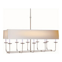 E.F. Chapman Branched 10 Light 36 inch Polished Nickel Linear Pendant Ceiling Light in Long Natural Paper