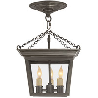 E. F. Chapman Cornice 3 Light 10 inch Bronze Semi-Flush Ceiling Light