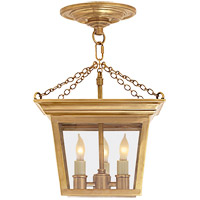 Visual Comfort E.F. Chapman Cornice 3 Light Semi-Flush in Hand-Rubbed Antique Brass SL5870HAB