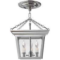 E. F. Chapman Cornice 3 Light 10 inch Polished Nickel Semi-Flush Ceiling Light