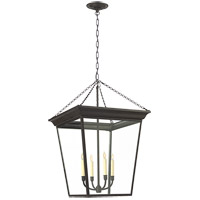 Visual Comfort E.F. Chapman Cornice 4 Light Foyer Pendant in Hand Painted Blackened Rust SL5872BR