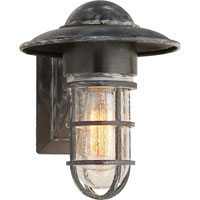 E.F. Chapman Marine 1 Light 11 inch Weathered Zinc Outdoor Wall Lantern in Seeded Glass