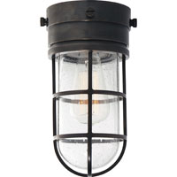 E.F. Chapman Marine 1 Light 6 inch Bronze Outdoor Flush Mount in Seeded Glass