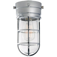 Visual Comfort E.F. Chapman Marine 1 Light Outdoor Flush Mount in Chrome with Clear Glass Shade SLO4000CH-CG