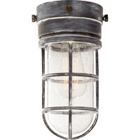 E.F. Chapman Marine 1 Light 6 inch Weathered Zinc Outdoor Flush Mount in Seeded Glass