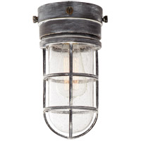 E. F. Chapman Marine 1 Light 6 inch Weathered Zinc Outdoor Flush Mount in Seeded Glass