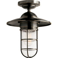 Visual Comfort Studio Marine Sandy Chapman Medium Marine Flush Mount in Bronze with Seeded Glass SLO4002BZ-SG