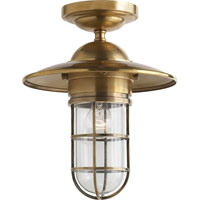 Visual Comfort Studio Marine Sandy Chapman Medium Marine Flush Mount n Hand-Rubbed Antique Brass with Clear Glass SLO4002HAB-CG