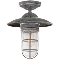 Visual Comfort SLO4002WZ-SG E. F. Chapman Marine 1 Light 12 inch Weathered Zinc Outdoor Flush Mount in Seeded Glass Medium