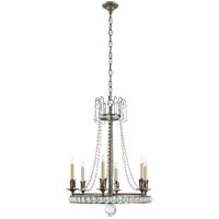 Joe Nye Regency 6 Light 22 inch Sheffield Nickel Chandelier Ceiling Light